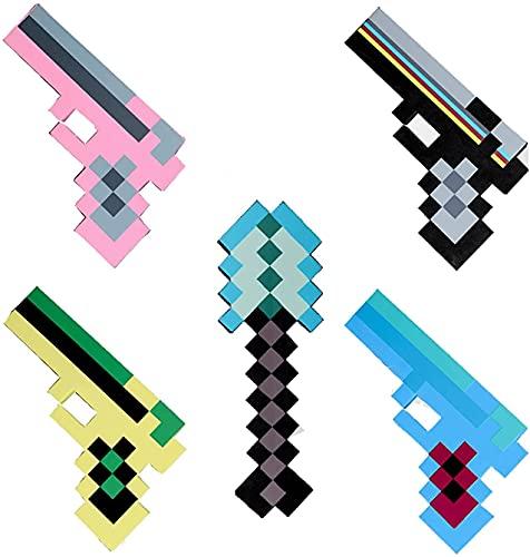 FDCBD Tapis de Taille de Vie Ensemble de Jouets pour Minecraft, Pixel Diamond Sword, Pick Netherite Hoe Bouclier Sabre Sabre, Mine de Pierre, Titans, Dague Light Creeper, Dungeons Deluxe Accessoire