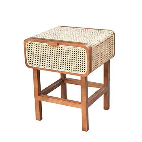 Mesa auxiliar de ratán Jcnfa, mesa auxiliar de madera maciza, armario de almacenamiento retro, con espacio de almacenamiento, madera, Madera, 16.92*18.89*23.62in