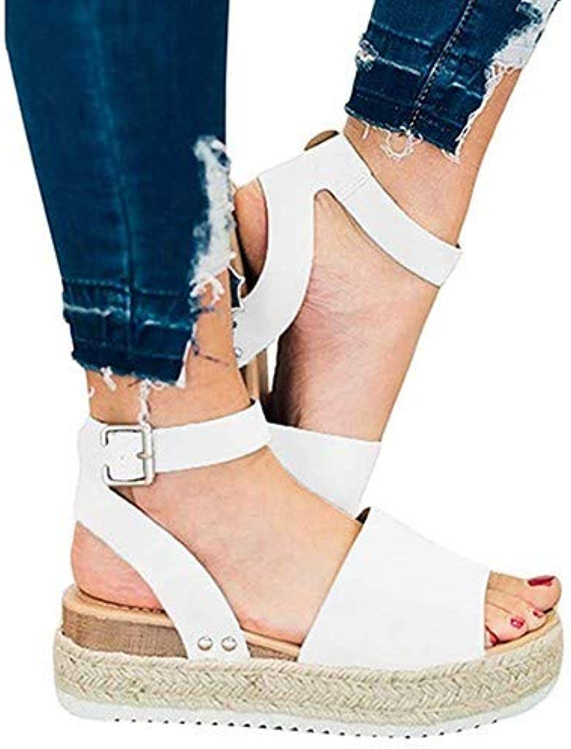 Sandals Wedges Summer Retro Peep Toe Buckle Ankle Strappy for Ladies Fashion Flat Lace Up 5 cm High Heels Leather Slingback shoes Casual Comfy White Espadrilles,White,40