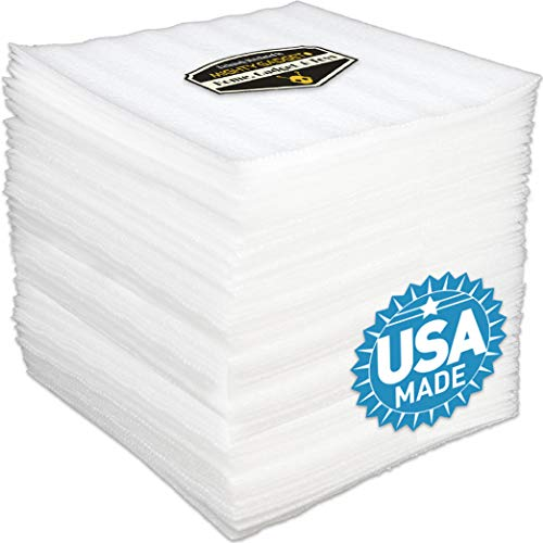 50 Pack of 1/8' Thick Mighty Gadget (R) 12' X 12' Foam Wrap Sheets, Safely Wrap Dishes, China, and Furniture, Foam Wraps Cushioning for Moving Storage Packing and Shipping Supplies, 50-Pack (White)