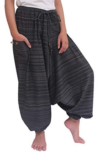 Wynnthaishop'100% Cotton Baggy Boho Aladin Yoga Harem Pants (S-XL for Waist for 26' - 42', Dark)
