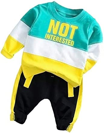 Jiangym Kids Clothing Spring and Autumn Boys Clothing Letters Pattern Round Neck Long Sleeve T-Shirt + Trousers Sports Set, Size:80cm(Green) Boys Clothing