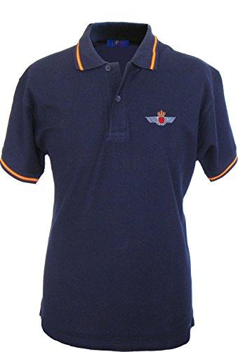 Pi2010 – Polo Ejército del Aire para Hombre, Color Azul Marino, Bandera España en Cuello y Mangas, 100% algodón, Talla M