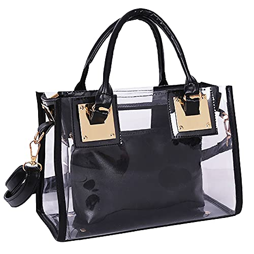 Material: heavy-duty transparent PVC. 2 in 1 Style: 1*Small shoulder bag with interior zipper pouch to conceal personal items you don't want to be seen in handbag for security. Fashion Design: Perfect for dating, shopping, working, beach, travel, voc...