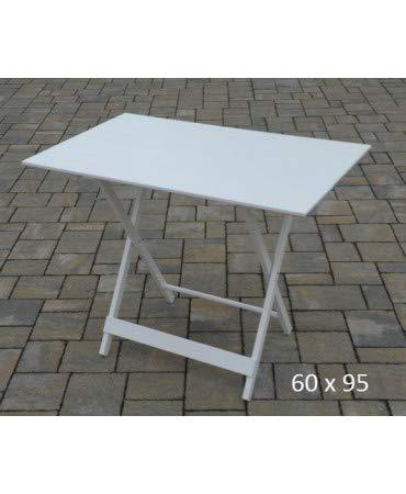 Liberoshopping Table pliante en bois, finition blanche, pliable, 60 x 95 cm, pour maison, jardin, camping