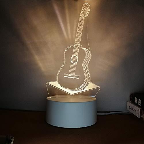 Kreatives Nachtlicht 3D Stereo Schriftzug DIY Persönlichkeit Design Tischlampe Geschenk praktische sinnvolle Gitarre Tricolor 3W