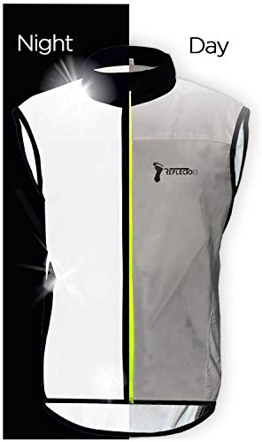 ReflecToes Reflective Windbreaker Vest for Running and Cycling. Super Bright, Lightweight, Premium and Durable Womens Or Mens Jacket - 4 Way Stretch Fabric - Rear Pockets Medium