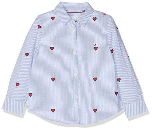 Tommy Hilfiger Tommy Hilfiger Baby-Mädchen Embroidered Heart Stripe Bluse, Blau (Shirt Blue 474), (Herstellergröße: 86)