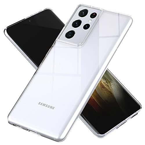 NALIA Chiaro Cover compatibile con Samsung Galaxy S21 Ultra Custodia, Sottile Cristallo Silicone Gomma Copertura Protettiva, Crystal Clear Case Resistente Morbido Guscio Rugged Bumper - Transparente