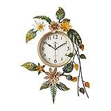 GJJSZ Hermoso Reloj de Pared de péndulo de Bronce Dorado Ad
