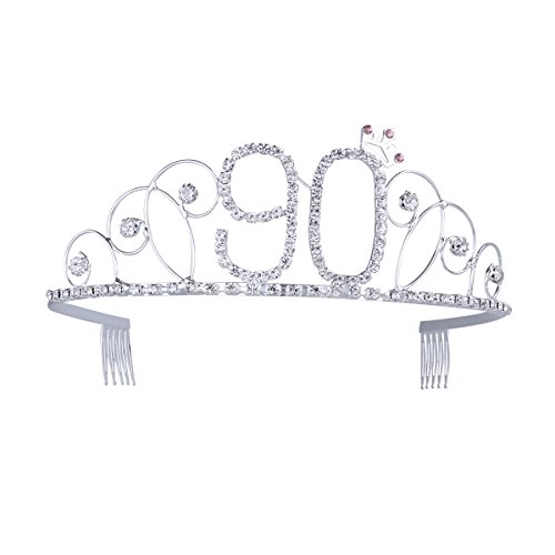 Frcolor 90th Birthday Tiara Crystal Rhinestone Women 90th Birthday Crown with Combs