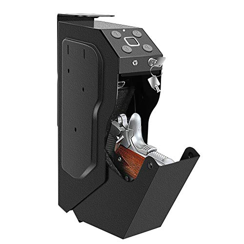 Gun Safe for Pistols, Fingerprint Gun Safe Box Quickly Access Handgun Safes with Digital Password or Key Lock