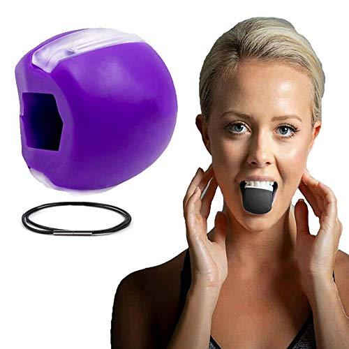 Ejercitador de mandíbula, Tóner Facial Tonificador Facial Ejercitador Equipo Tonificador De Cuello Herramienta De Belleza Facial Ejercicio de la Línea de la Mandíbula (Púrpura)
