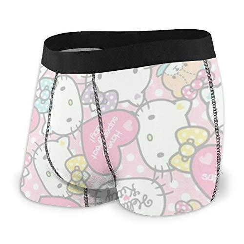 Hello Kitty Herren Boxershorts, bequeme Polyesterfaser, bedruckt Gr. S, Schwarz