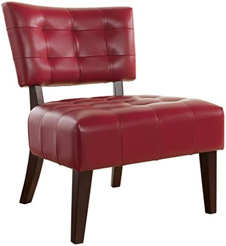 Best Roundhill Furniture Blended Leather Tufted Accent Chair with Oversized Seating, Red