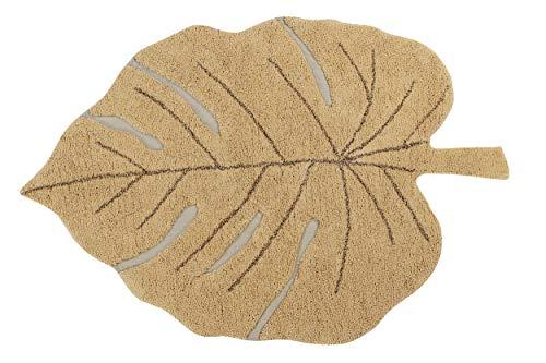 Lorena Canals - Alfombra Lavable Monstera Honey - Miel, Marrón Tierra, Ocre, Oliva - 97% algodón 3% Otras Fibras - 120x180 cm