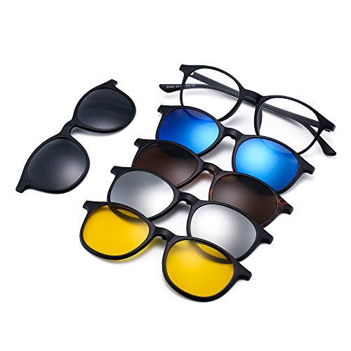 JIM HALO Magnetic 5Pcs Polarized Clip-on Sunglasses Round Plastic Frame for Night Driving 2245A