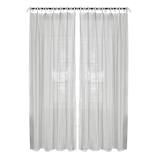 Elrene Home Fashions Greta Crushed Sheer Tie Tab Top Teen Kids Single Window Panel Curtain Drape, 50