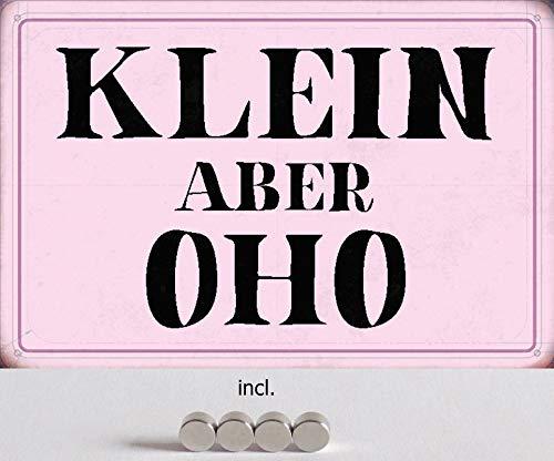 Blechschild 20x30cm gewölbt incl. 4 Magneten Klein Aber oho Humor Spruch Sprüche Deko Geschenk Schild
