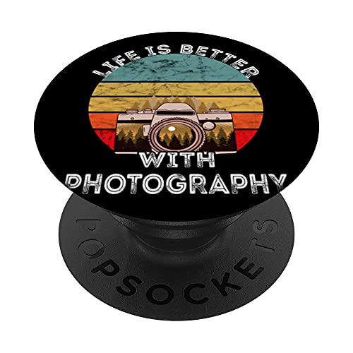 Fotografía Cámara Paisaje Fotógrafo Retro Sunset PopSockets PopGrip Intercambiable