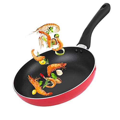 Maxware 9.5 Inch Nonstick Frying Pan, Dishwasher Safe PFOA Free Skillet, Red Coating Scratch Resistant Body, Induction Safe Bottom