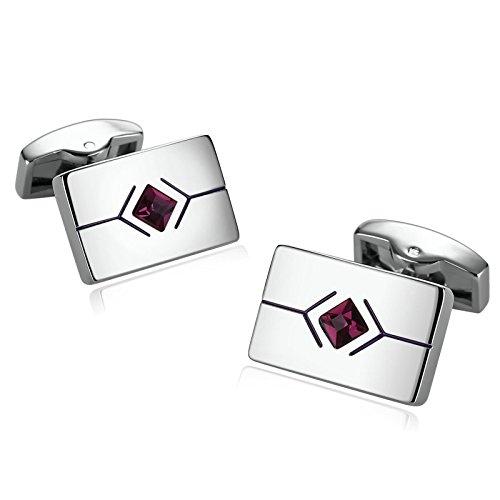 SonMo 1 Paar Manschettenknöpfe Herren Edelstahl Manschettenknöpfe Lustig Rechteck mit Raute Zirkonia für Die Hochzeit Rote Rose 1.2×2 cm mit Geschenkbox