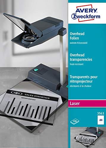 AVERY Zweckform 3563 Overhead-Folien für S/W Laserdrucker und -Kopierer (100 Transparentfolien, A4, spezialbeschichtet, stapelverarbeitbar, extrem hitzestabil durch erhöhte Folienstärke 0,13mm)
