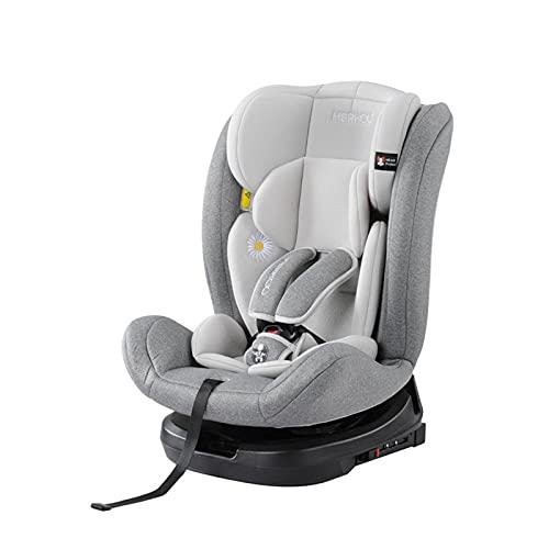XNL Coche Silla De Bebé Giratorio De 360 Grados 0-12 Años Puede Sentarse En Asiento De Seguridad para Niños Portátil Grey