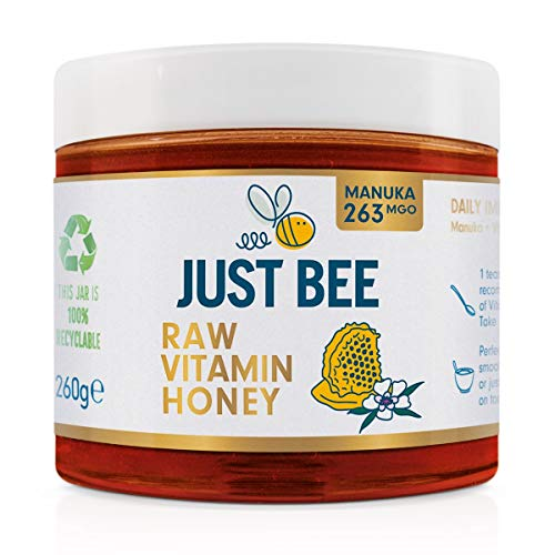 Just Bee Raw Vitamin Manuka Honey (263 MGO), Certified Pure New Zealand Honey with Vitamin C, B6, B12, Echinacea (260g jar)