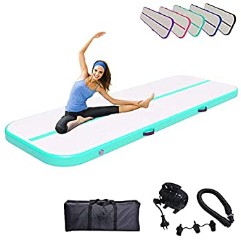 Inflatable Gymnastic Air Track Mat 10ft 13ft 16ft 20ft 4/8 Inch Thickness Tumbling Mats Tumble Track Air Barrel Gymnastics Roller with Electric Air Pump  3m,green