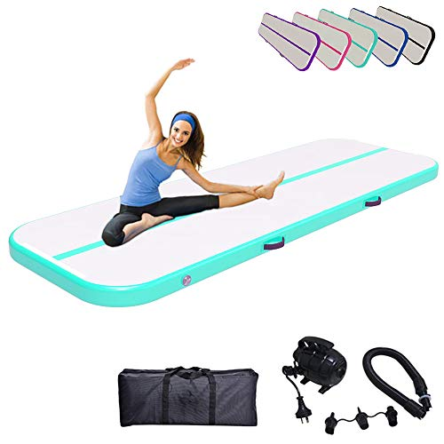 Air Track Gymnastics Mats Tumbling Mat 10ft 13ft 16ft 20ft Air Mat 4/8 Inches Thickness with Electric Air Pump Air Barrel Roller Folding Storage for Home 3m Light Green
