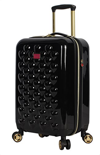 Betsey Johnson Designer 20 Inch Carry On - Expandable (ABS + PC) Hardside Luggage - Lightweight Durable Suitcase With 8-Rolling Spinner Wheels for Women (Heart to Heart Black)
