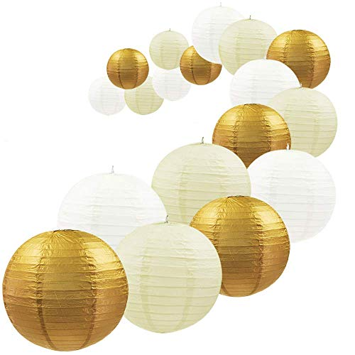 UNIQOOO 18PCS Assorted Metallic Gold Paper Lantern Wedding Party Decoration Set, Easy Assemble, Reusable Hanging Japanese Paper Lantern Lamp Cover, Birthday Baby Bridal Shower Party Favor Supply