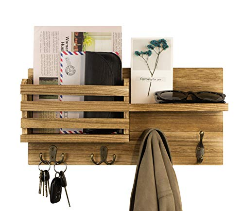 Key Holder for Wall Decorative Mail Holder Organizer Wall Mount Wooden Mail Sorter with Coat Key Hooks and A Floating Shelf Rustic Home Decor for Entryway, Mudroom, Hallway