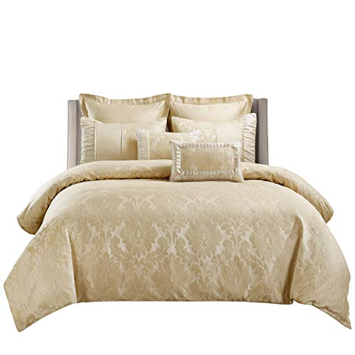 sheetsnthings Jacquard Queen Size Comforter Set- 12PC Bed in a Bag Includes Sara (Beige) Duvet Cover Set, Down Alternative Comforter, Bed Sheets