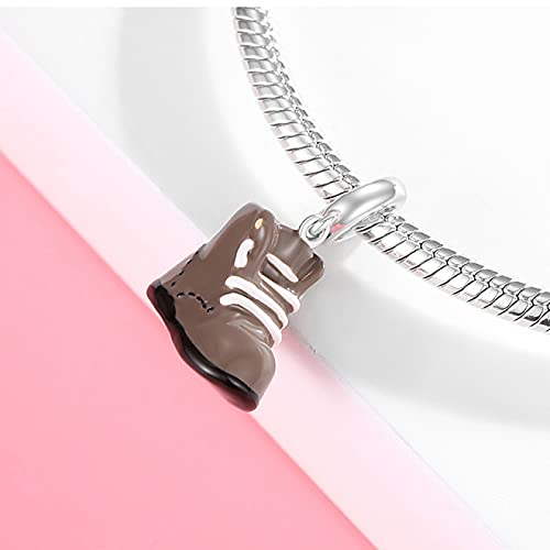 YYFHHK 925 Sterling Silber Travel Together Wanderschuhe Anhänger Perlen Koffer Hohlperlen Charms Für Schmuck Making Fit Original Armband