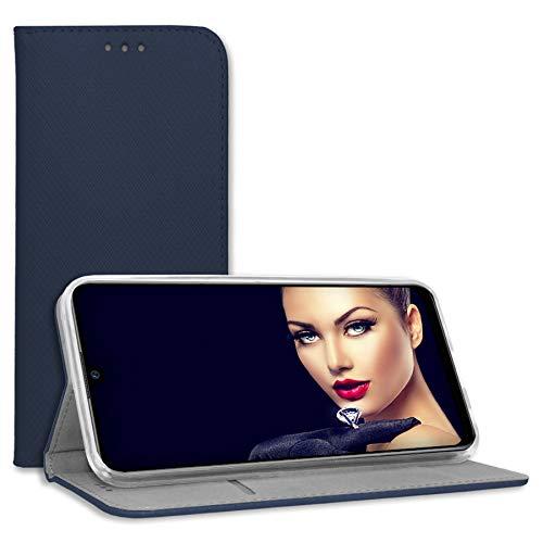 mtb more energy® Schutz-Tasche Bookstyle für HTC Desire 19 Plus (6.2'') - blau - Kunstleder - Klapp-Cover Hülle Wallet Hülle