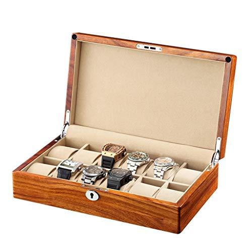 LAMZH Reloj Caja Caja para Relojes 6/12/Slot, Porta Relojes y Joyas, Caja para Relojes Madera Multifuncional Coleccion y Almacenamiento Caja Almacenamiento Reloj (Color : D-12watchs)