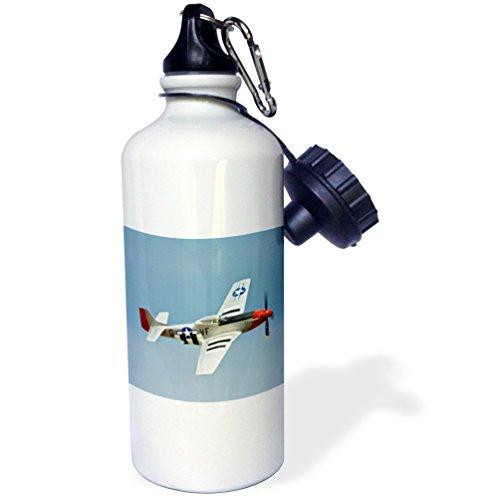 3dRose P-51D Mustang Fighter WWII War Plane-US50 BFR0014-Bernard Friel-Sports Botella de agua, 21oz (wb_97103_1), aluminio, color blanco
