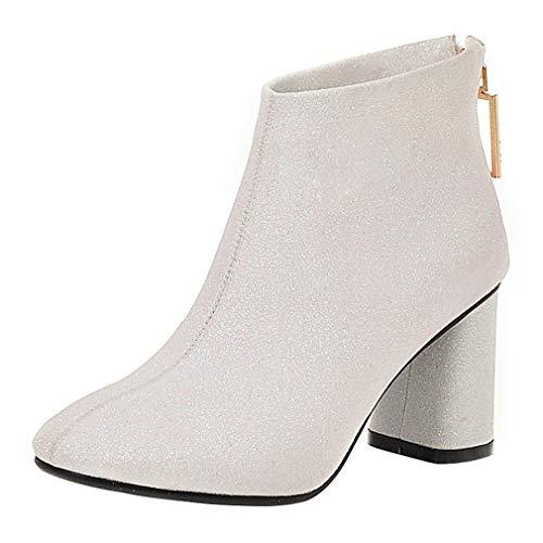 LUXMAX Damen Chunky Stiefeletten High Heels Glitzer Ankle Boots mit Blockabsatz Pailletten Hochzeit...