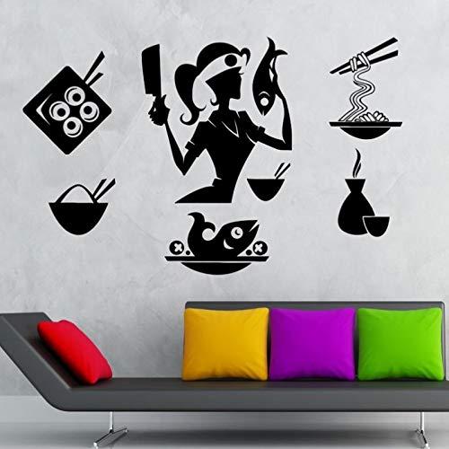 ASFGA Wandaufkleber Sushi Chef Frauen Aufkleber Essen Restaurant Aufkleber Poster Vinyl Blume Pegatina dekorative Wandbild Sushi Aufkleber 58x93cm