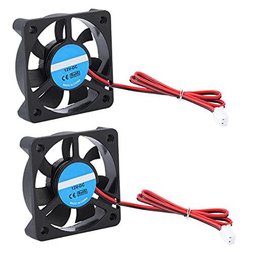 Ventilador de refrigeración de Impresora 3D, 2 Piezas de 2 Pines DC12V 50 × 50 × 10 mm Ventiladores de refrigeración, 4000-6500 RPM 30dB 8-14CFM Mini Ventilador de refrigeración silencioso Accesorios