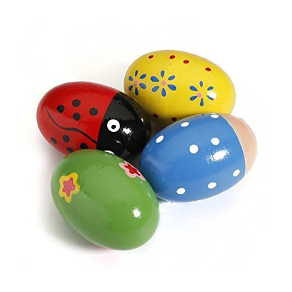 タンザニア縁石バタフライTOYMYTOY 4本卵のシェーカー木製レトロエッグ形音楽パーカッション玩具子供用(ランダムカラー)