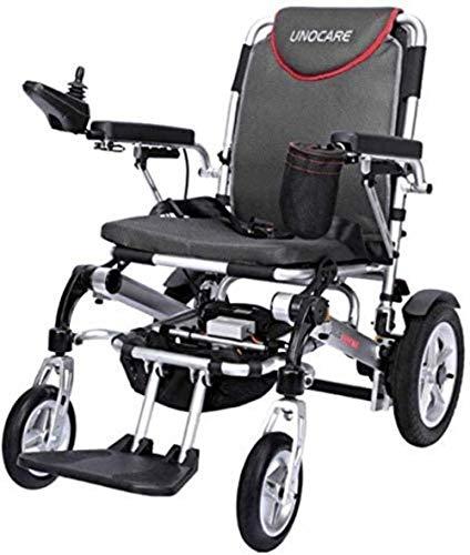 Silla de ruedas de aleación de aluminio, control remoto portátil plegable for silla de ruedas eléctrica, rotación de 360 °, adecuado for la multitud: ancianos, discapacitados (negro, rojo.250w * 2)