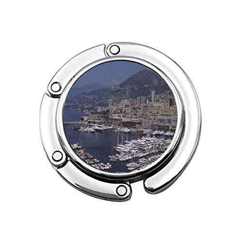 Netter Faltbarer Geldbeutel-Aufhänger für Tisch, Geldbeutel-Haken-Architektur-Hafen Monte Carlo französische Riviera D-Stadt