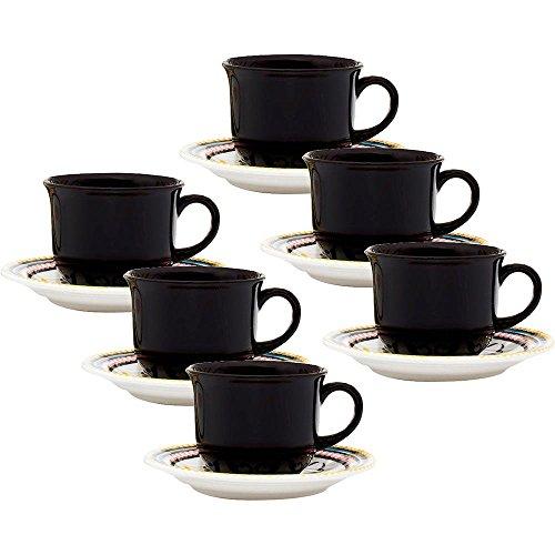 Conjunto com 6 Xícaras de Chá 200Ml com Pires Oxford Daily Floreal Luiza Multicor 15Cm
