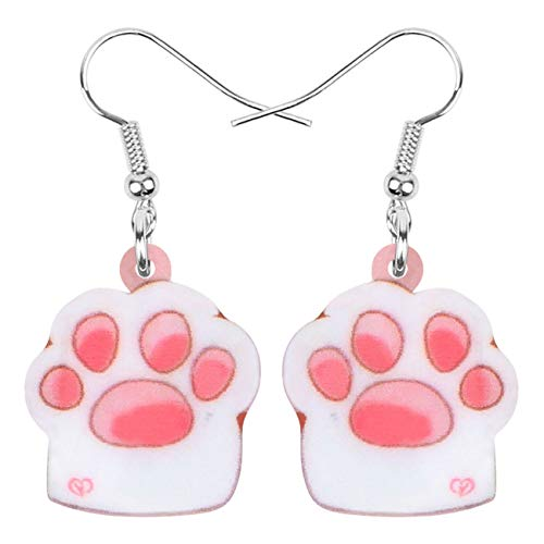 DOWAY Acrylic Valentine's Day Heart Box Persian Cat Claw Earrings Drop Dangle Jewelry For Women Girls Lovers Charm Gift pink