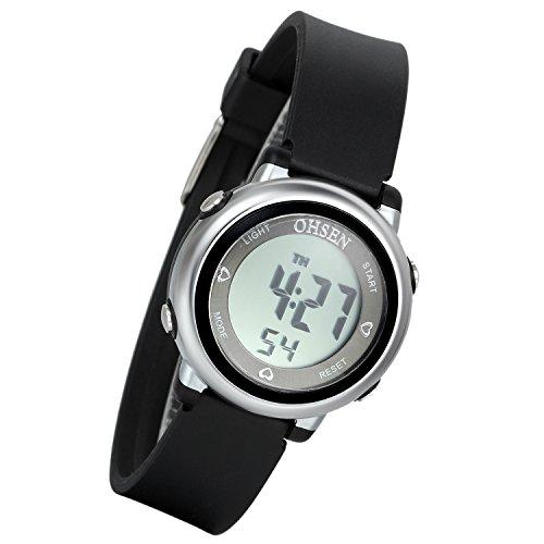 Lancardo Reloj Deportivo Digital de Multifunciones Impermeable de 50m Pulsera Electrónica con Luces Correa de Caucho para Deportes Exteriores para Niños Chicos (Negro)