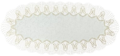 Plauener Spitze by Modespitze, Tovaglia, Multicolore (Mehrfarbig), 45 cm x 100 cm, Ovale