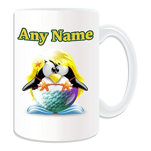 UNIGIFT gepersonaliseerd geschenk - grote zeemeermin mok (Penguin in kostuum ontwerp wit) Naam bericht unieke dom grappige novelty kleine Ariel prinses Disney oceaan blond sexy Hot